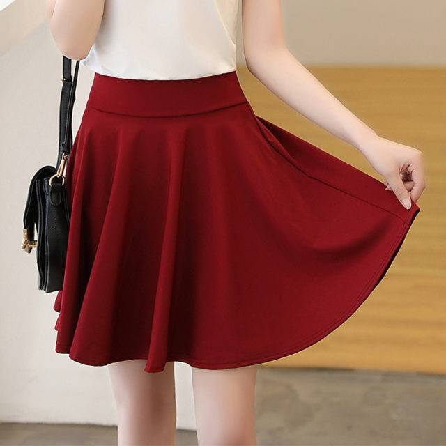 Women's Plus Size Double Pleated Skirt Plus Size Apparel Skirts Color : Black|Dark Blue|Sky Blue|Red|Yellow|Royal Blue|Burgundy