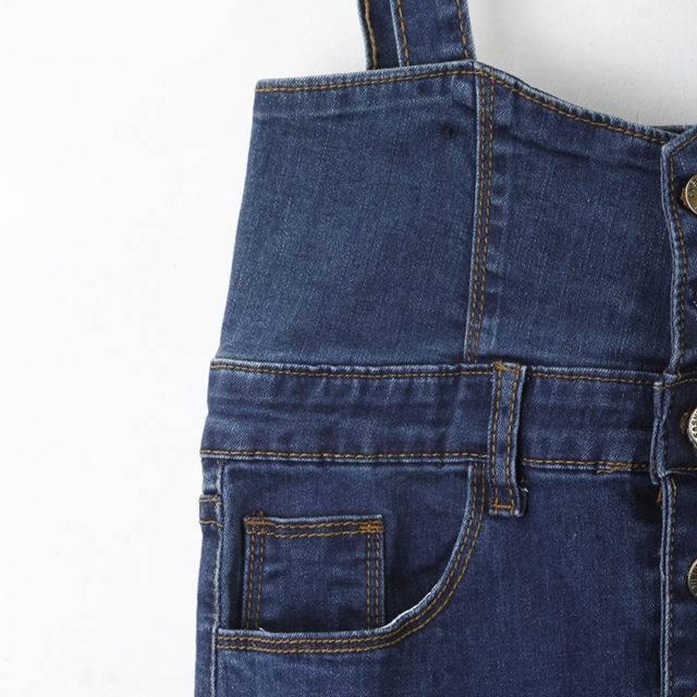 Women's Long Plus Size Denim Skirt with Suspenders Plus Size Apparel Skirts Color : Blue
