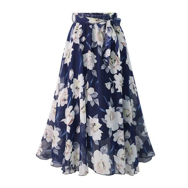 Women's Floral Patterned Plus Size Chiffon Skirt Plus Size Apparel Skirts Color : Black|Blue