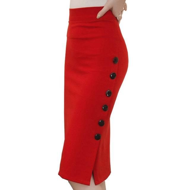 Women's Plus Size Pencil Midi Skirt Plus Size Apparel Skirts Color : Black|Red