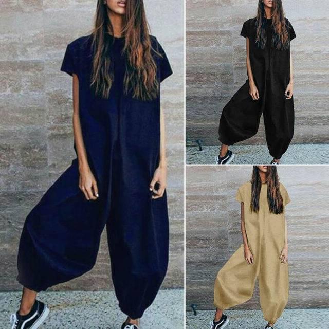 Women's Plus Size Long Cotton Jumpsuit Jumpsuits & Rompers Plus Size Apparel Color : Black|Navy|Khaki