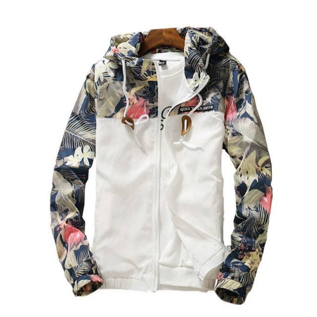 Women's Plus Size Floral Patterned Windbreaker Jacket Outerwear Plus Size Apparel Color : Black|Sky Blue|Gray|Army Green|White|Navy Blue