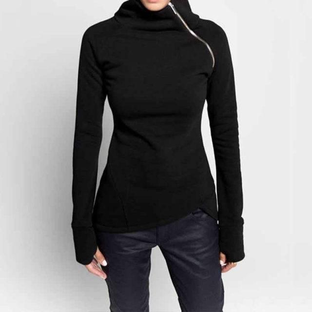 Women's Plus Size Turtleneck Autumn Sweatshirt Hoodies & Sweatshirts Plus Size Apparel Color : Black