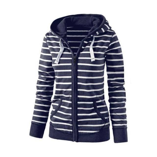 Women's Plus Size Long Sleeve Striped Hoodie Hoodies & Sweatshirts Plus Size Apparel Type : 1|2|3