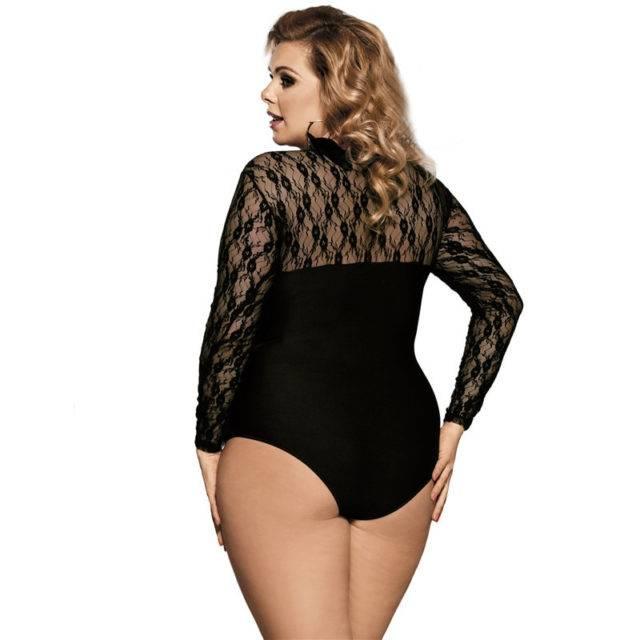 Women's Plus Size Semi-Transparent Bodysuit Bodies Plus Size Apparel Type : 1|2|3|4