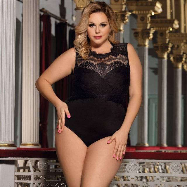 Women's Plus Size Semi-Transparent Lace Bodysuit Bodies Plus Size Apparel Color : Black|Pink|White