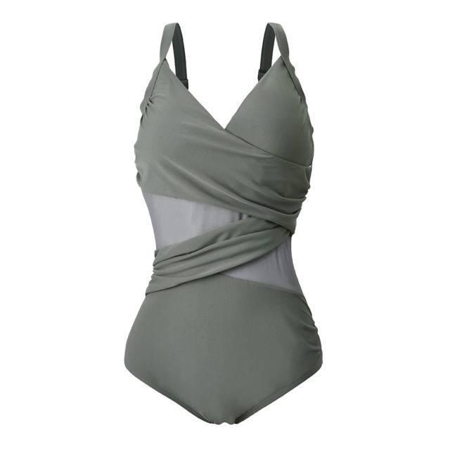Women's Plus Size Mesh One Piece Swimsuit Plus Size Swimwear Color : Black Dark Blue Gray Dark Green Wine Red Royal Blue