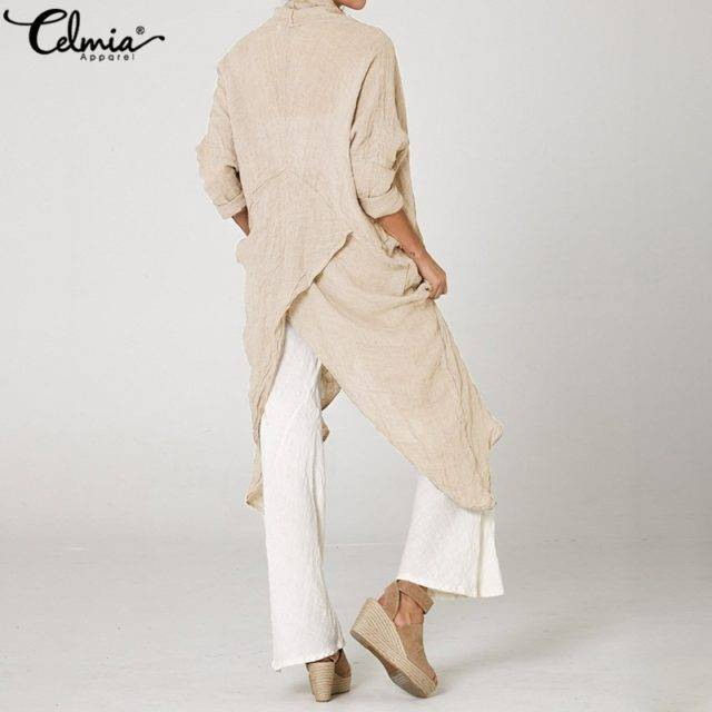 2019 Celmia Plus Size Women Tops and Blouses Vintage Long Shirt Casual Cowl Neck Long Sleeve Loose Asymmetrical Blusas Femininas Color : Beige|Black|Light Blue|Gray|Dark grey|Khaki|White|Coffee