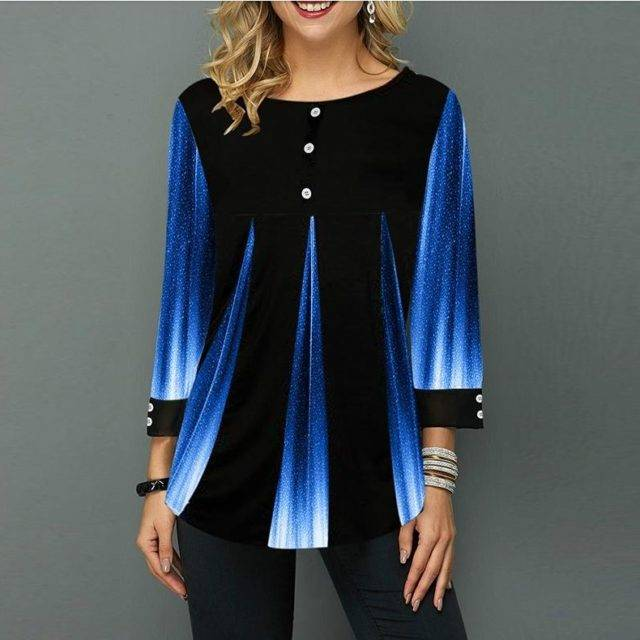 Shirt Women Spring Summer Blouse 3/4 Sleeve Casual Printing Female fashion shirt Tops Plus Size 5XL StreetShirt Color : style1|style2|style3|style4|style5|style7|style8|style9|style10|style11|style12|style13|style14|style15|style16|style17
