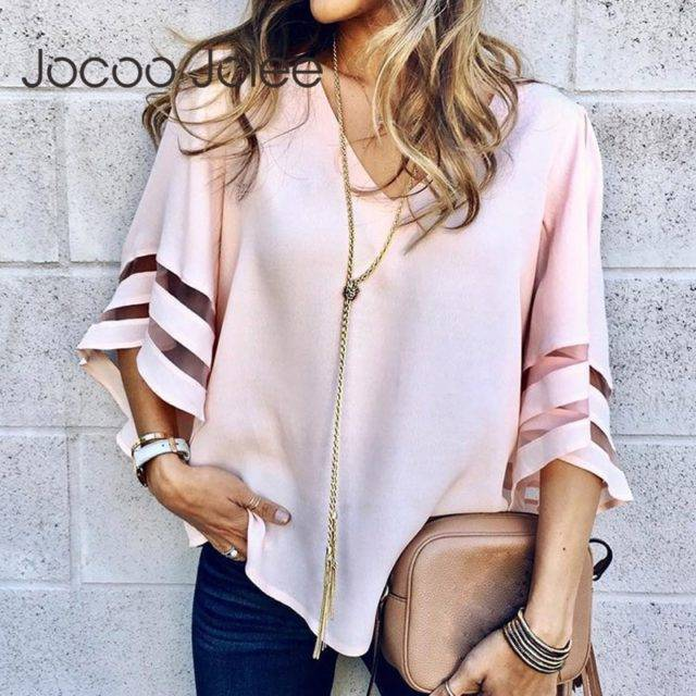 V Neck Flared Sleeves Mesh Patchwork Shirts Summer Plus Size Casual Loose Mesh Women Blouse Pink Street Womens Tops Blouses 5XL Color : Black|Light Blue|Khaki|Pink|Purple|Red|White|Yellow|Navy Blue|Wine Red|Rose Red|Royal Blue