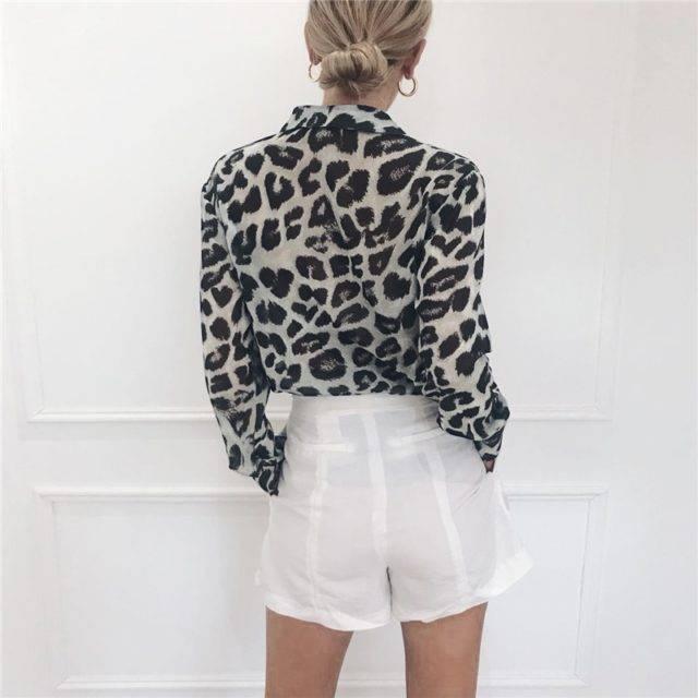 Vintage Blouse Long Sleeve Sexy Leopard Print Blouse Turn Down Collar Lady Office Shirt Tunic Casual Loose Tops Plus Size Blusas Color : Brown Gray Pink White