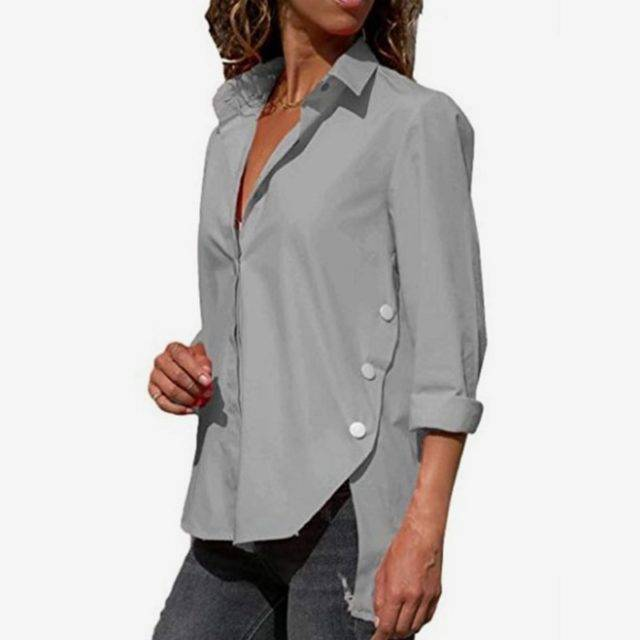 Women's Office Lady Chiffon Irregular Shirt Top Black White Red Long Sleeve Female Blouse 2019 Summer Shirts Tops Plus Size 5XL Color : Black|Blue|Gray|green|Orange|Rose Red|Purple|Red|White|Yellow