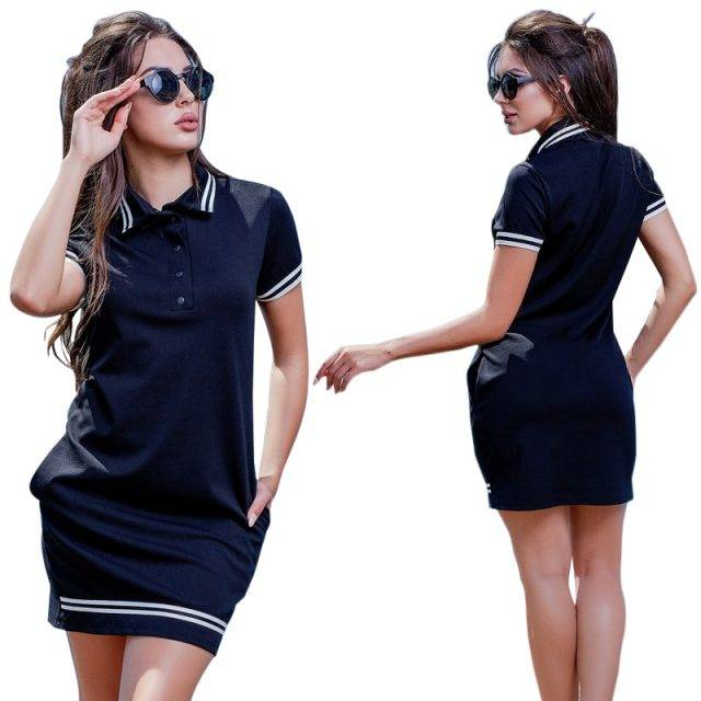 Plus Size 2020 New Fashion Women Summer Polo Dress Best Sellers Dresses Plus Size Apparel Color : deep blue|Red