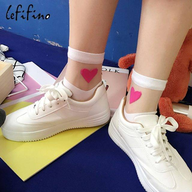 Summer Cute Love Transparent Women Socks Comfortable Sexy Heart Pattern Cotton Bottom Fashion Socks Soft White Socks Ne74230 Footwear Plus Size Apparel Color : white socks black socks gray socks