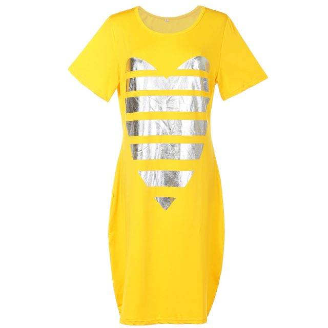 Women's Plus Size Heart Casual Straight Mini Dress Color : Blue|Pink|Yellow